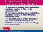 proposed new reports plans studies and staffing mandates