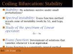 coiling bifurcation stability