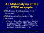 an iam analysis of the btpc example