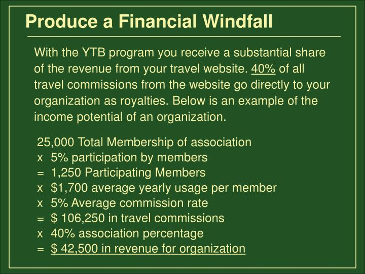 Produce a Financial Windfall