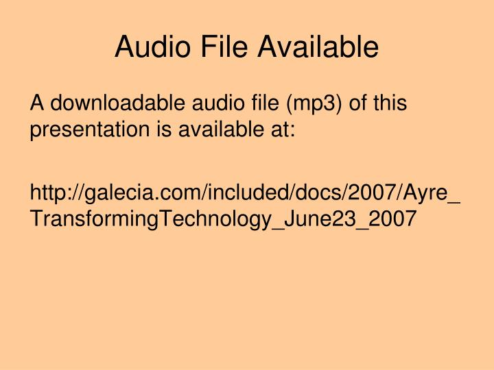 Audio file available