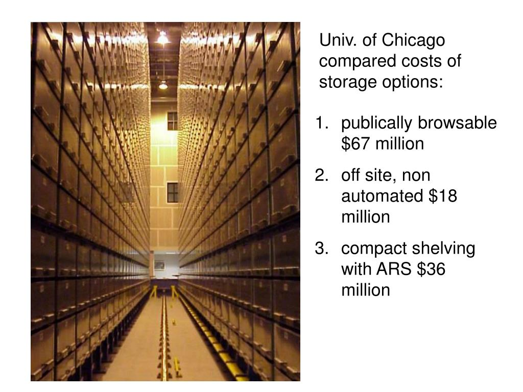 Univ. of Chicago compared costs of storage options: