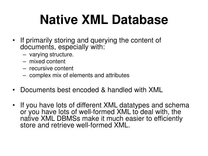 Native xml database