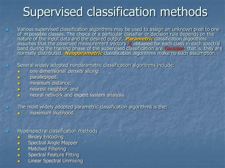 Supervised classification methods