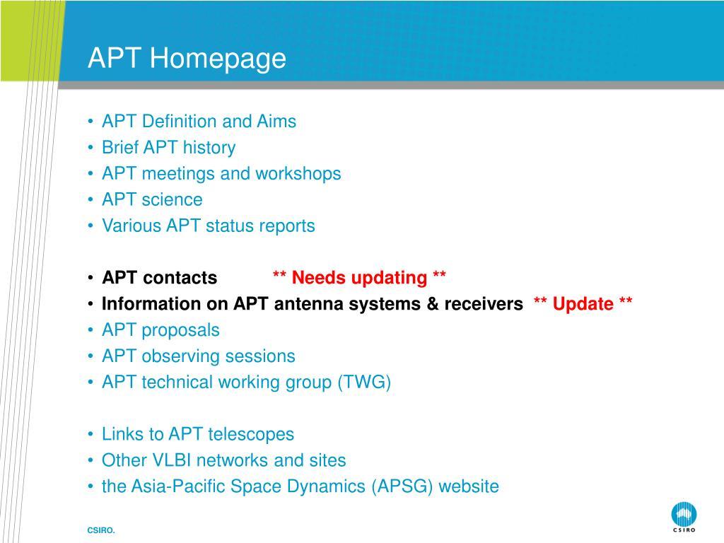 APT Homepage