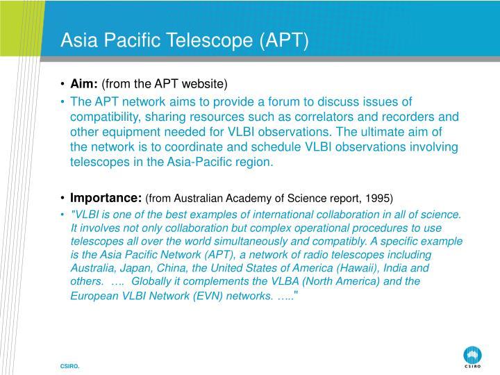 Asia pacific telescope apt