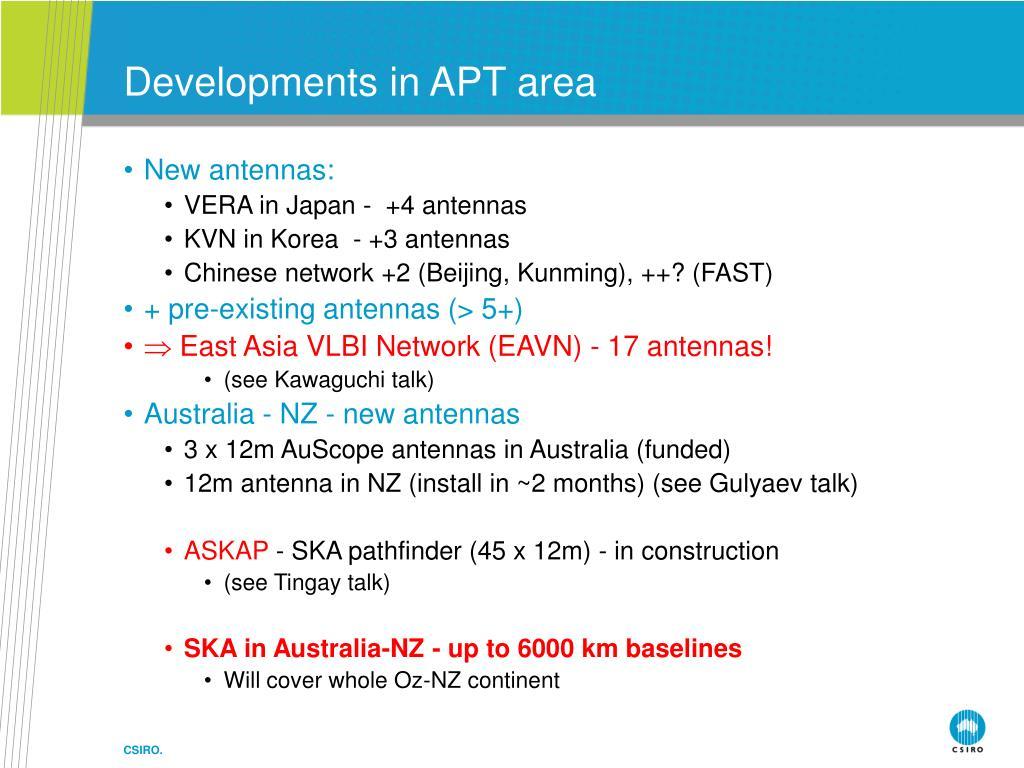 Developments in APT area