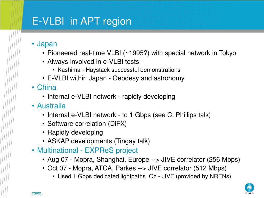E-VLBI  in APT region