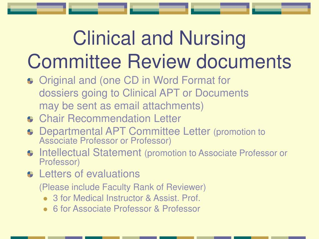 Clinical and Nursing Committee Review documents