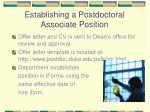 establishing a postdoctoral associate position
