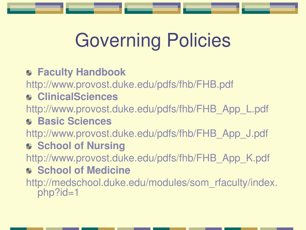 Governing Policies