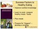 success factors to healthy eating