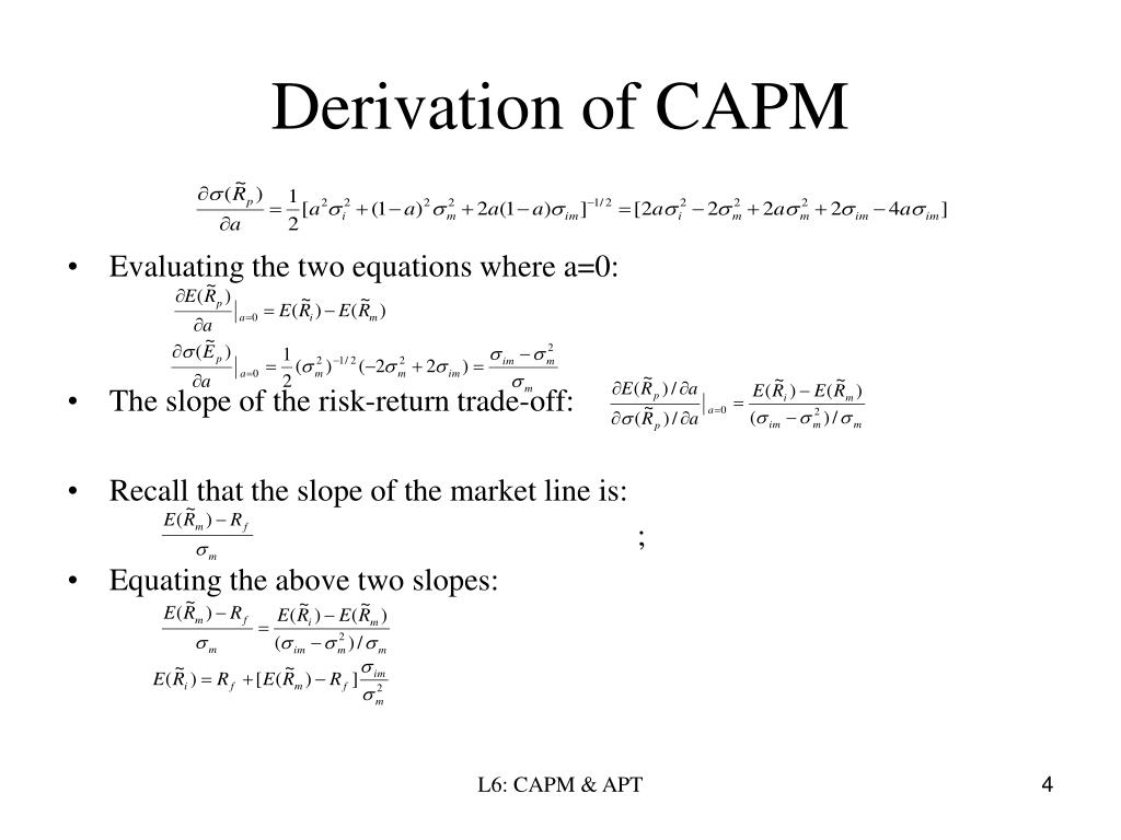 Derivation of CAPM