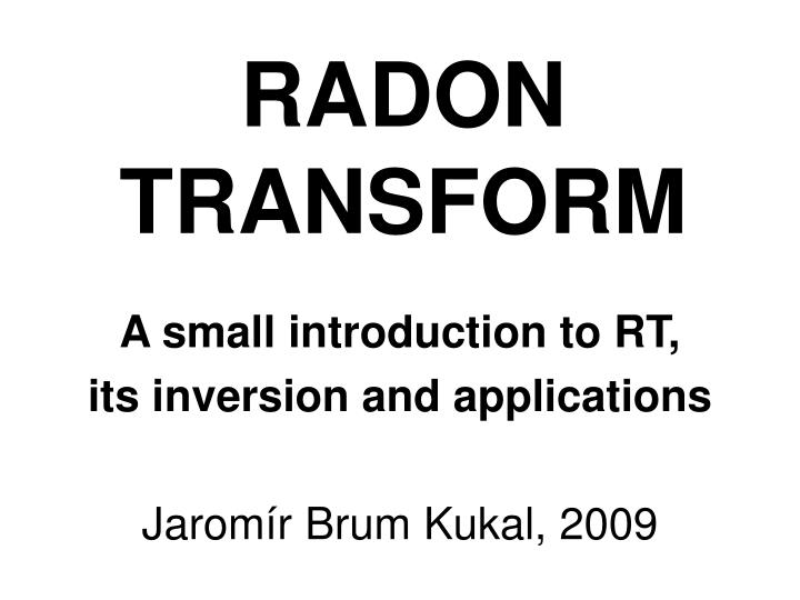 radon transform n.