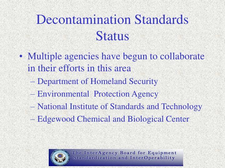 Decontamination Standards Status