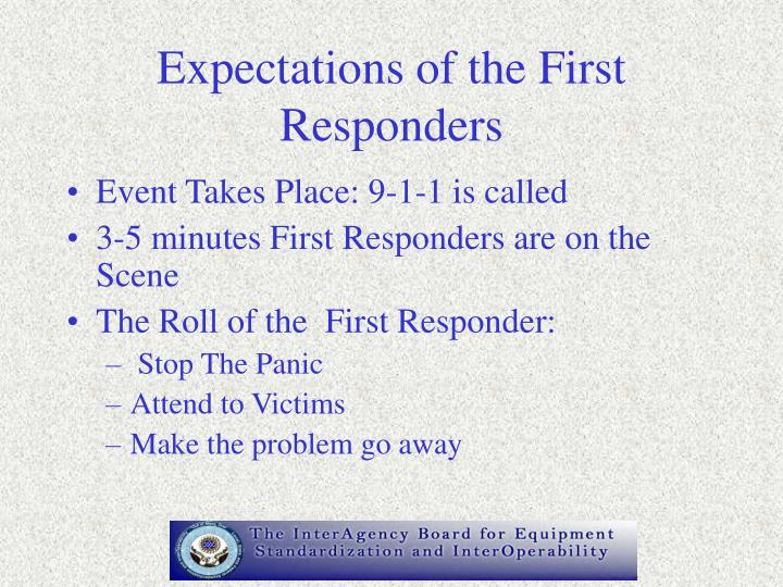 Expectations of the First Responders