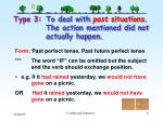 type 3 to deal with past situations the action mentioned did not actually happen
