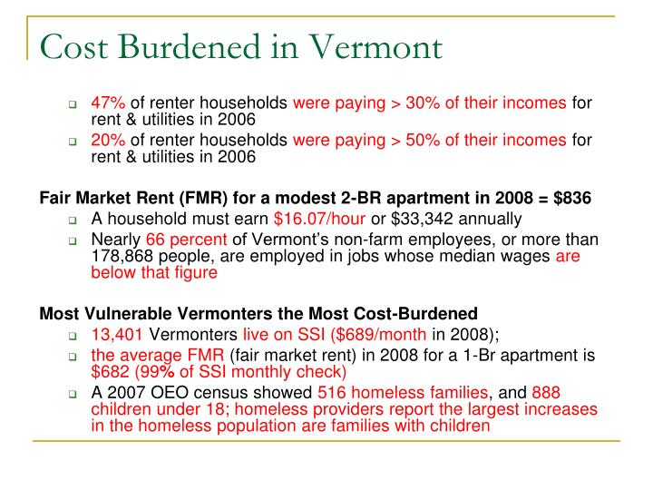 Cost burdened in vermont