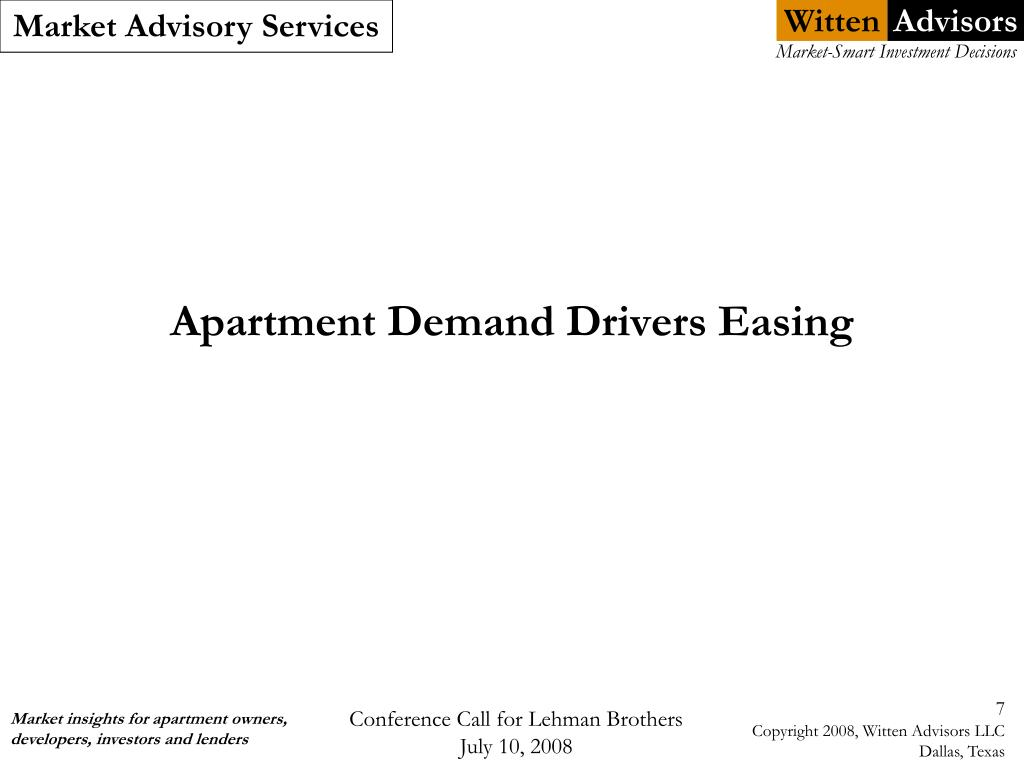 Apartment Demand Drivers Easing