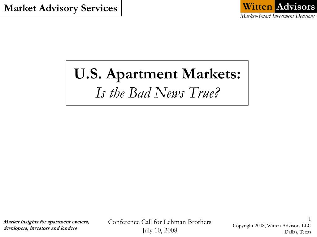 u s apartment markets is the bad news true l.