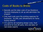 costs of books to bricks