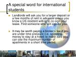 a special word for international students