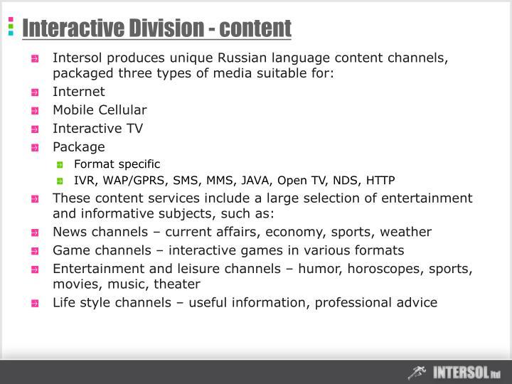 Interactive Division - content