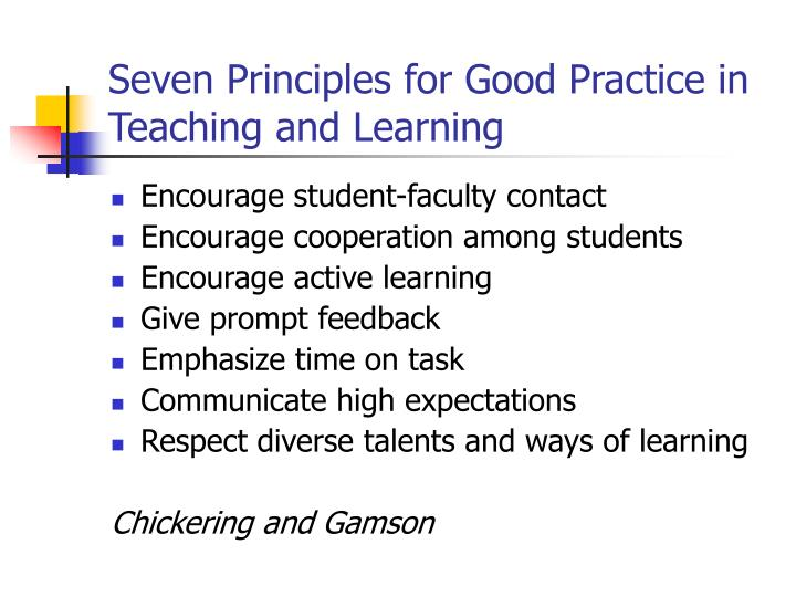 Seven Principles for Good Practice in Teaching and Learning