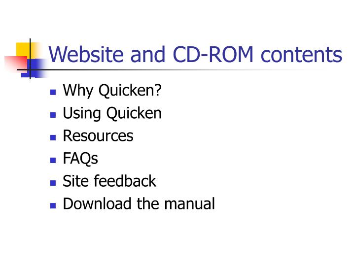 Website and CD-ROM contents