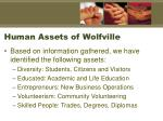 human assets of wolfville