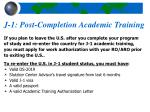 j 1 post completion academic training