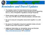 reminders and travel updates