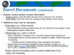 travel documents continued