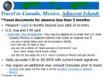 travel to canada mexico adjacent islands