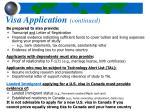 visa application continued