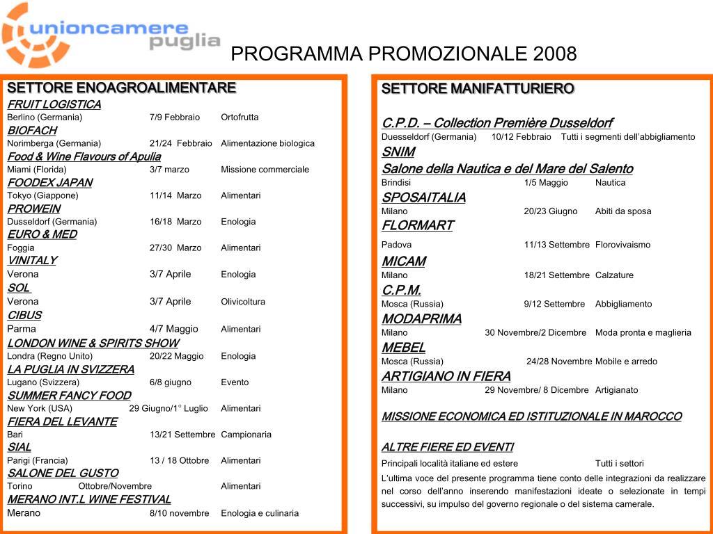 programma promozionale 2008 l.