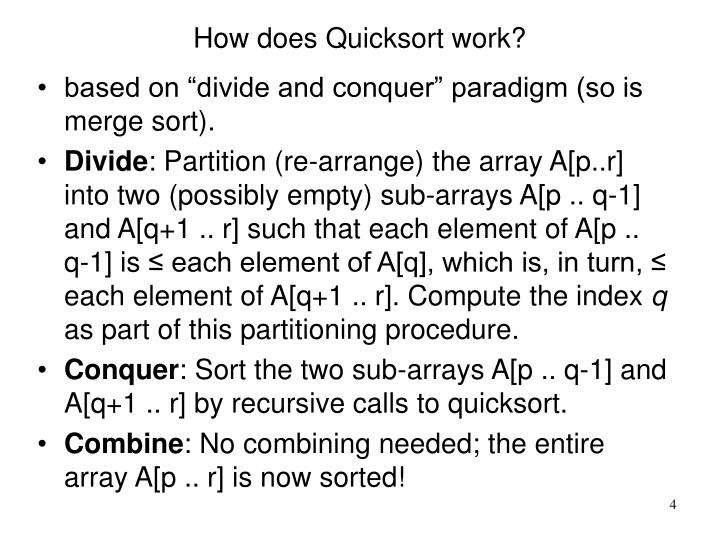How does Quicksort work?
