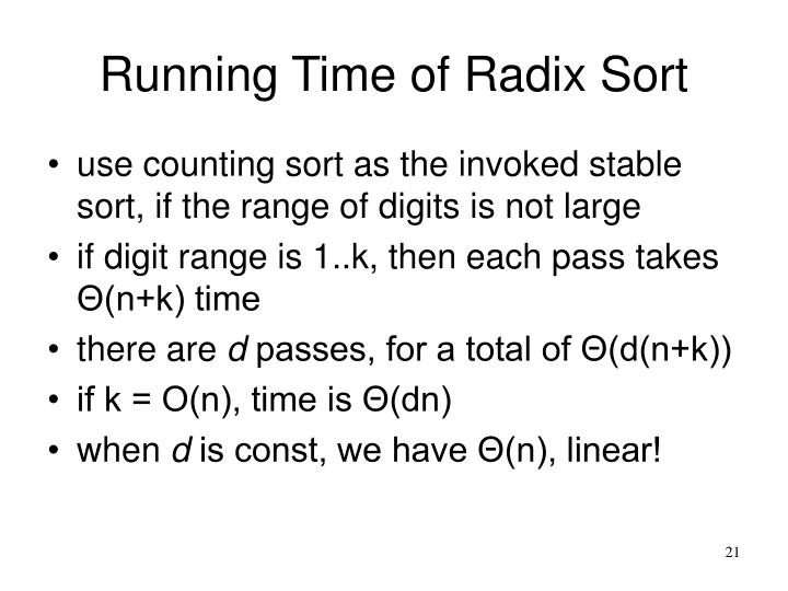 Running Time of Radix Sort