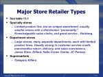 major store retailer types