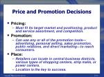 price and promotion decisions