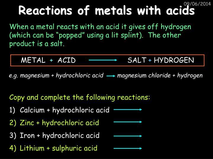 Reactions of metals with acids
