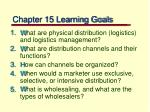 chapter 15 learning goals