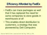 efficiency afforded by fedex