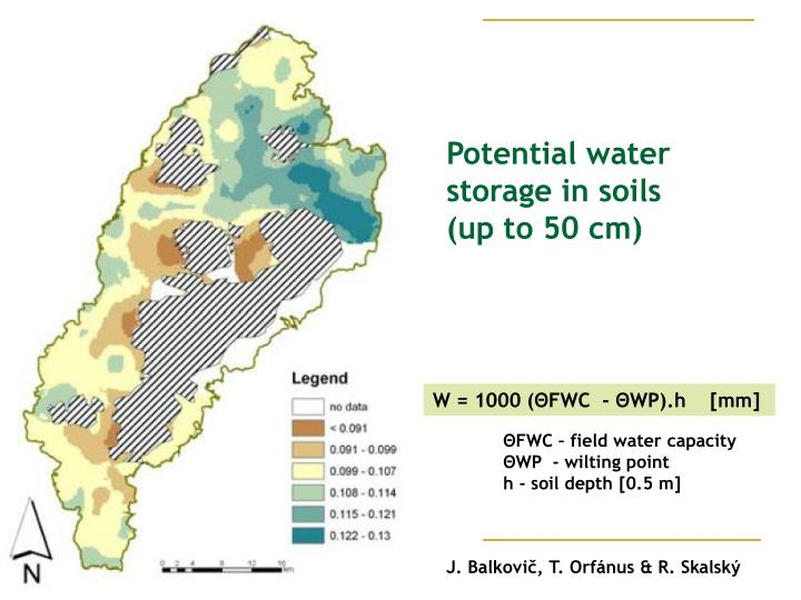 Potential water storage in soil