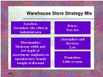 warehouse store strategy mix