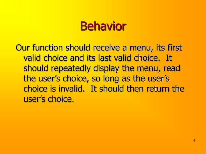 Behavior