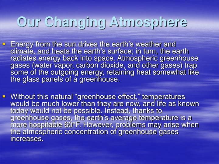 our changing atmosphere essay Climate change: 11 facts you need to know we're already seeing the effects of human-caused climate change — but nature can help we're already seeing the effects of climate change, but thankfully, we're equipped with the most effective tool to mitigate and adapt to it: nature.