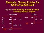 example closing entries for cost of goods sold