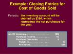 example closing entries for cost of goods sold30
