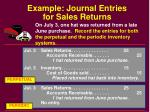 example journal entries for sales returns
